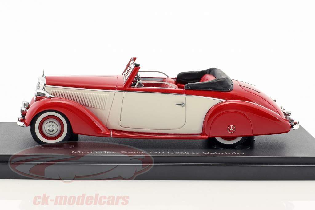 Mercedes-Benz 230 (W153) Graber Cabriolet year 1939 red / cream White 1:43 AutoCult