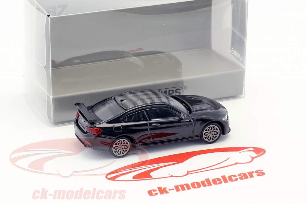 BMW M4 GTS year 2016 black metallic with grey rims 1:87 Minichamps