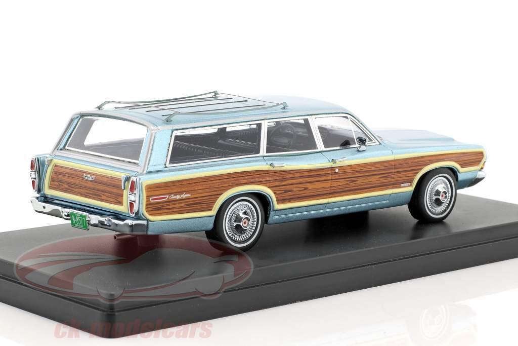 Ford LTD Country Squire anno di costruzione 1968 azzurro metallico con effetto legno 1:43 Neo
