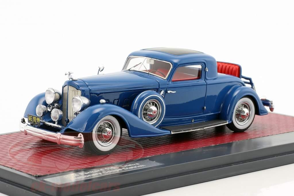 Packard 1108 Twelve Stationary Coupe Dietrich anno 1934 blu 1:43 Matrix
