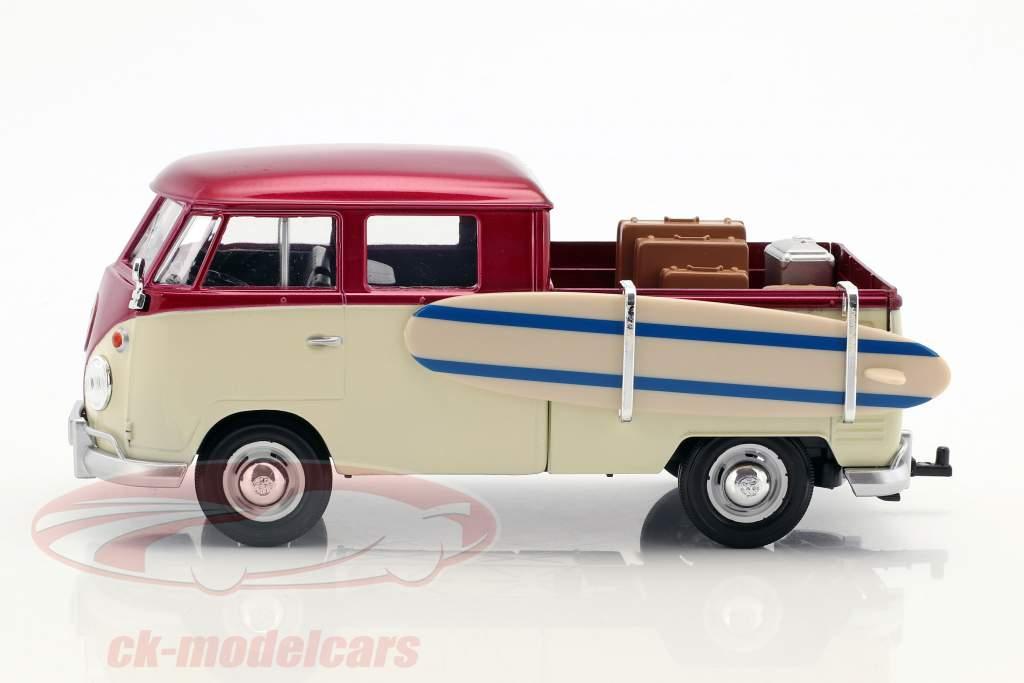 Volkswagen VW T2 Pick-Up Week at the Beach Set viola / crema / grigio 1:24 MotorMax