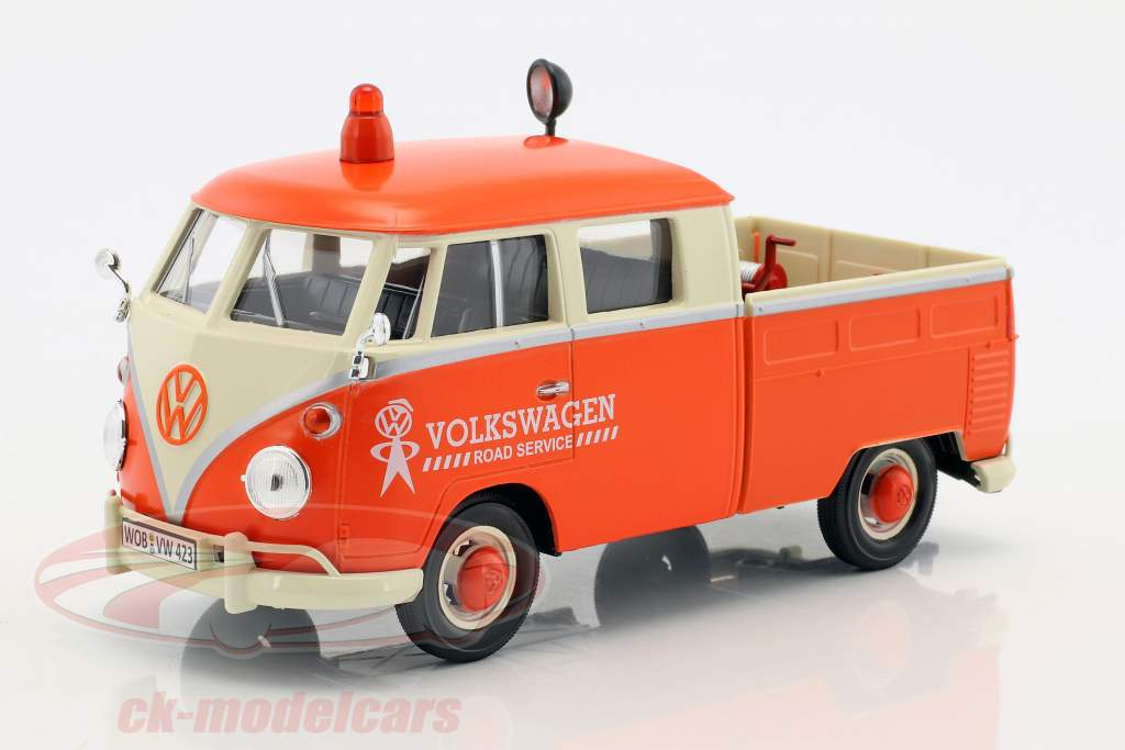 Volkswagen VW T2 Pick-Up Road Service Set orange / crème / gris 1:24 MotorMax