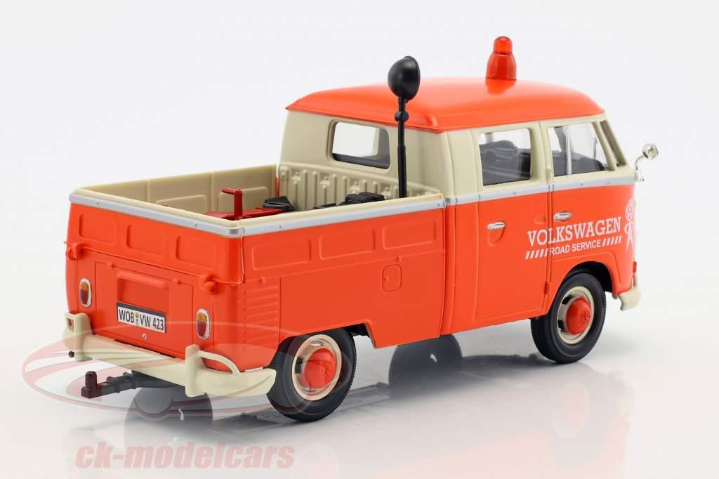 Volkswagen VW T2 Pick-Up Road Service Set arancione / crema / grigio 1:24 MotorMax