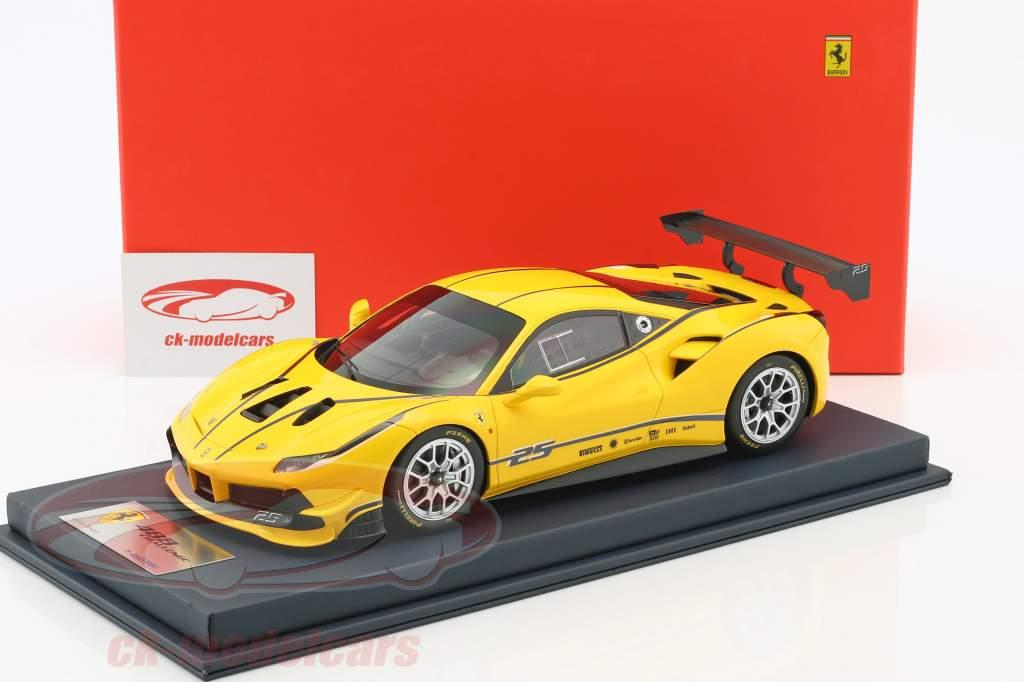 Ferrari 488 Challenge modena yellow with showcase 1:18 LookSmart