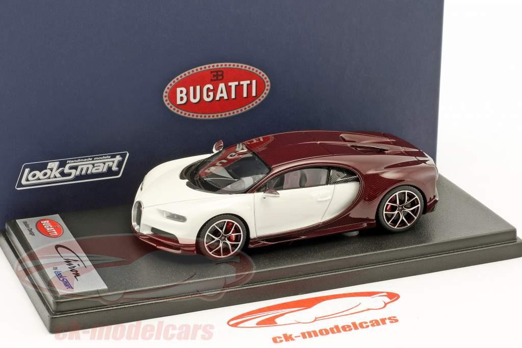 Bugatti Chiron Motorshow Genève 2016 carbon rouge / glacier blanc 1:43 LookSmart