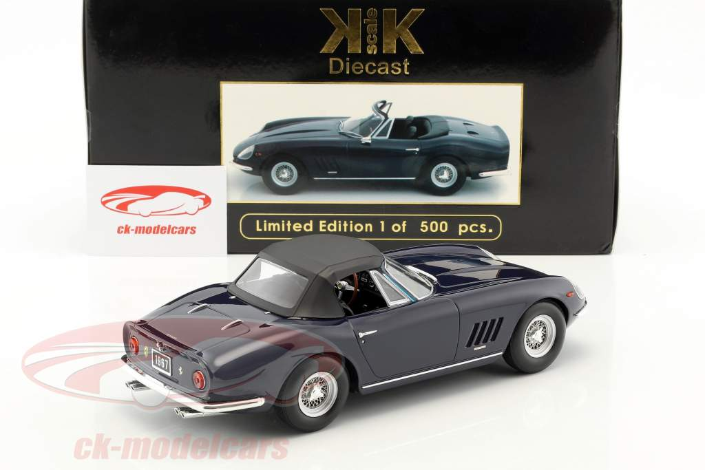Ferrari 275 GTB4 NART Spyder with spoke rims year 1967 dark blue 1:18 KK-Scale