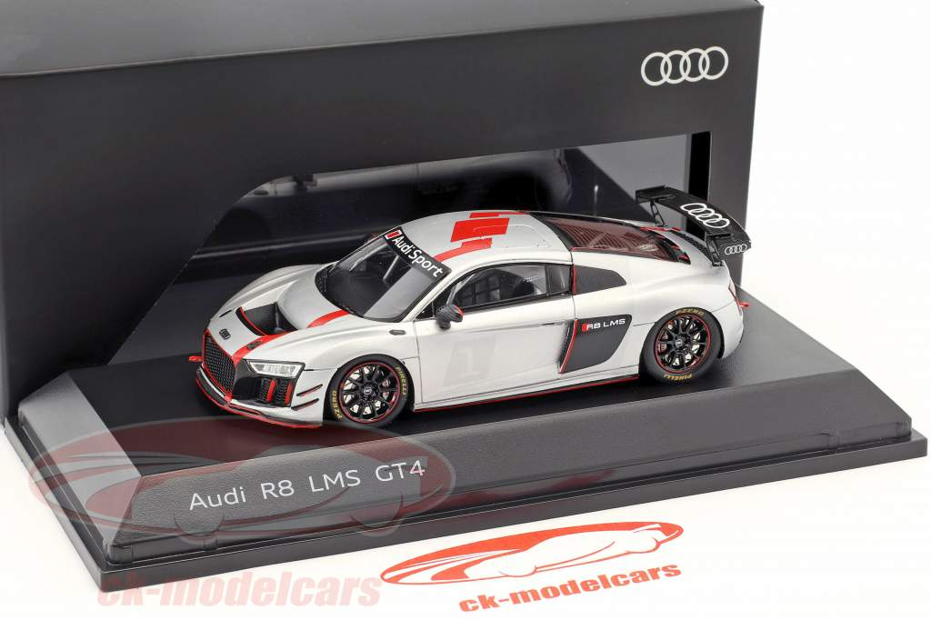 Audi R8 LMS GT4 Presentation Car silver / black / red 1:43 Spark