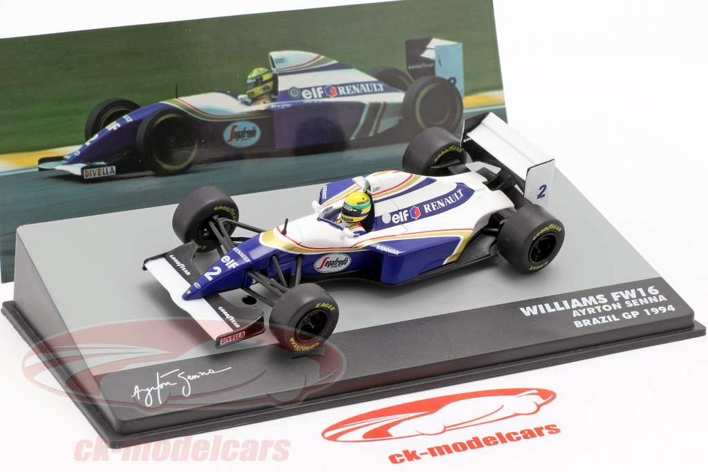 Campeones en miniatura 1:18 Ayrton Senna Williams Renault FW16 brasileño GP 1994 F1 Nuevo