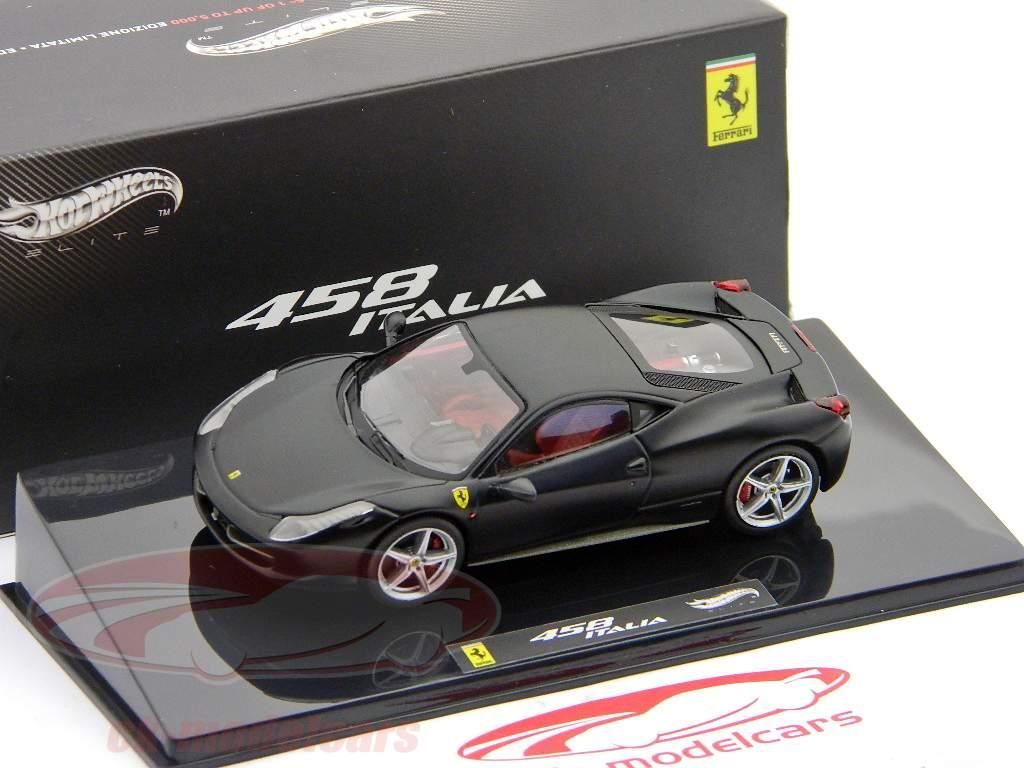 ck modelcars x5503 ferrari 458 italia noir mat noir mat hotwheels elite 1 43 ean 746775144609. Black Bedroom Furniture Sets. Home Design Ideas