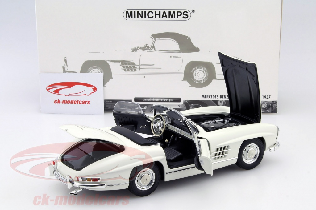ck modelcars 180039034 mercedes benz 300 sl roadster w198 year 1957 white 1 18 minichamps. Black Bedroom Furniture Sets. Home Design Ideas