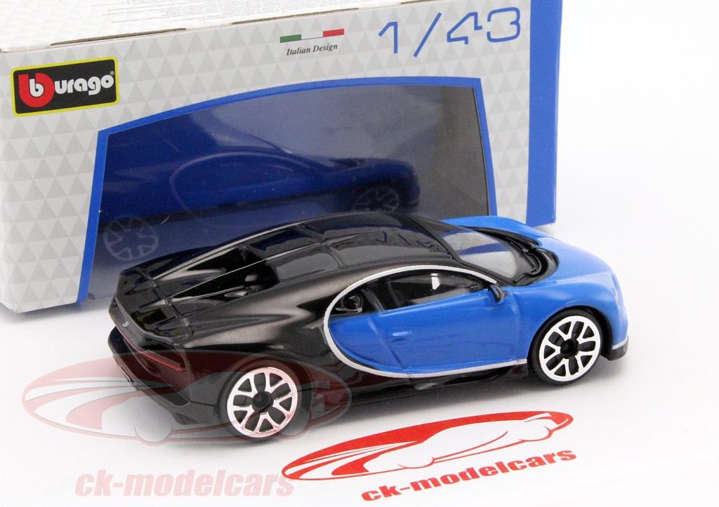 ck-modelcars - 18-30348b: bugatti chiron blue / black 1:43 bburago