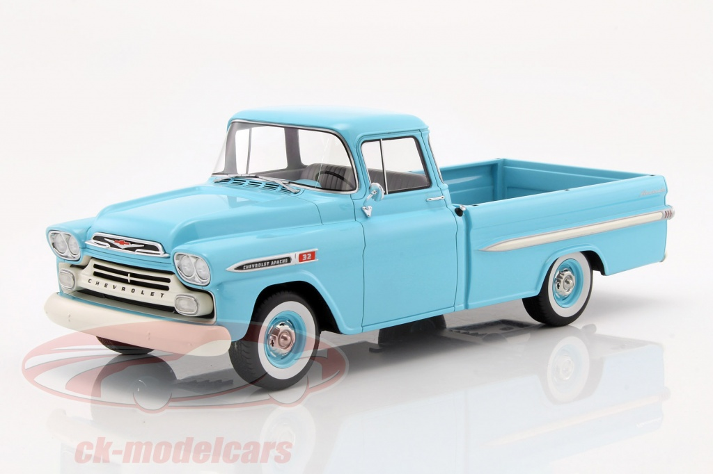ck modelcars bos285 chevrolet apache pickup year 1959 light blue 1 18 bos models ean 214159. Black Bedroom Furniture Sets. Home Design Ideas