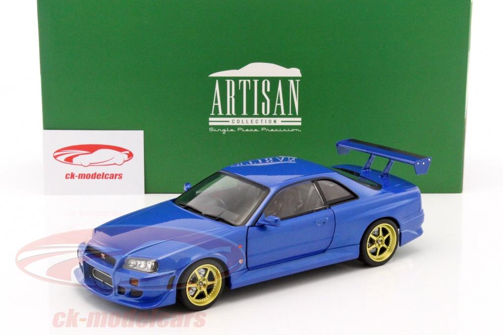 Nissan Skyline GT R (R34) Year 1999 Blue 1:18 Greenlight
