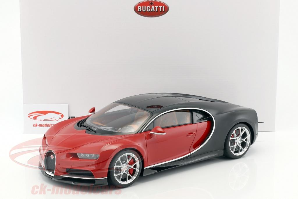 ck-modelcars - ksr08664r-z: bugatti chiron year 2016 red / black 1