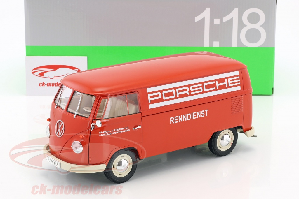 Ck modelcars 18053 volkswagen vw t1 bus porsche renndienst year volkswagen vw t1 bus porsche renndienst year 1963 red white 118 welly thecheapjerseys Choice Image