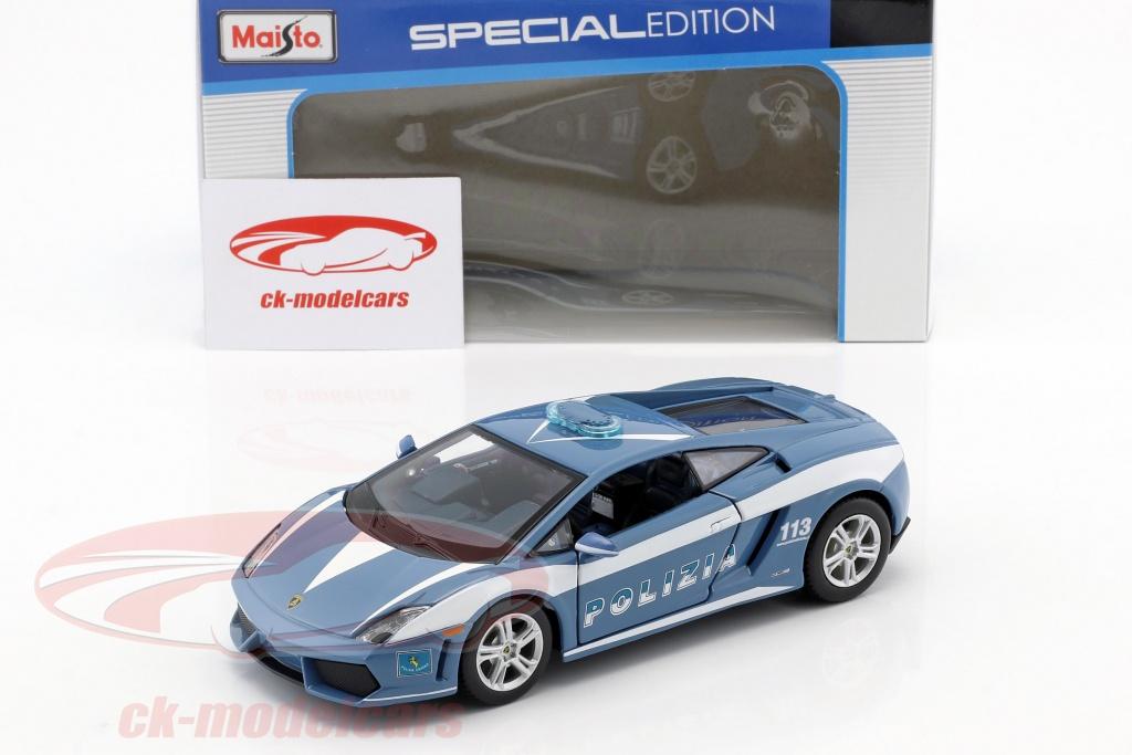 Maisto 1 24 Lamborghini Gallardo Lp 560 4 Policia Azul Blanco