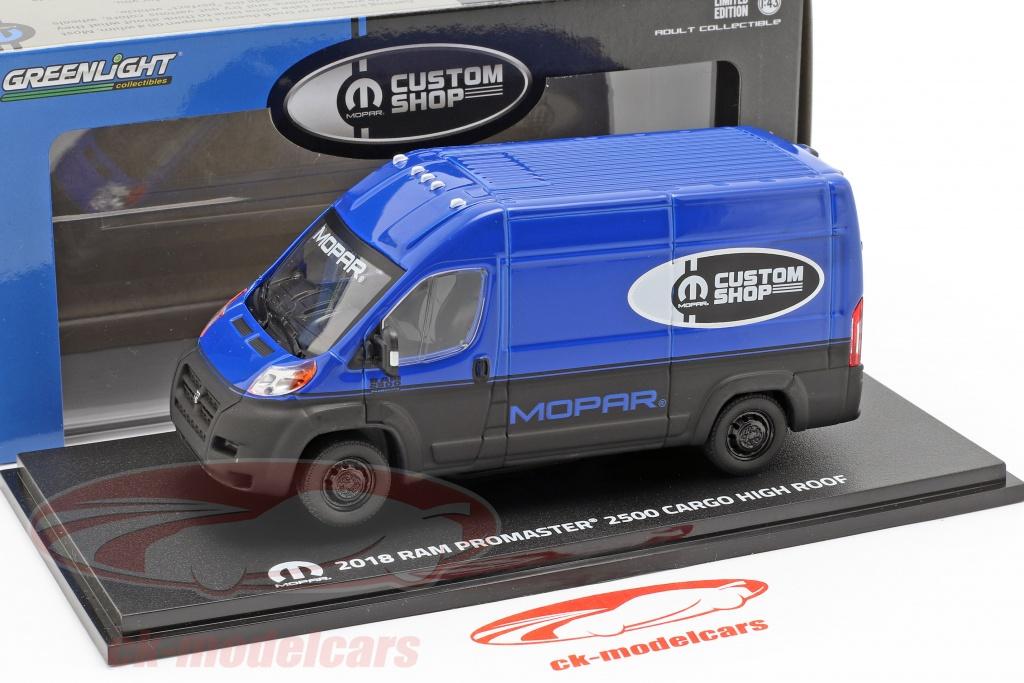 Ram ProMaster 2500 Cargo van year 2018 blue / black 1:43 Greenlight