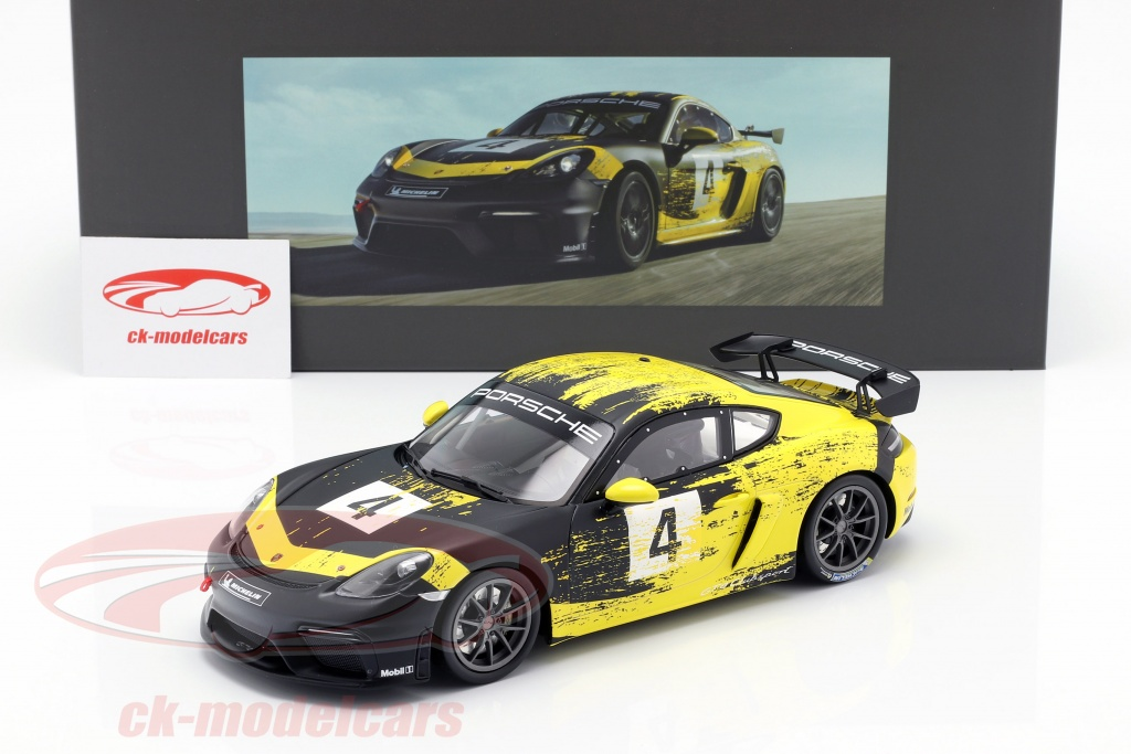 Minichamps 1 18 Porsche 718 Cayman Gt4 Clubsport 2019 Yellow Black With Showcase Wap0214150k Model Car Wap0214150k