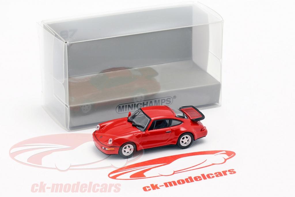Minichamps 1 87 Porsche 911 Turbo 964 Year 1990 Red 870069100 Model Car 870069100 4012138156814