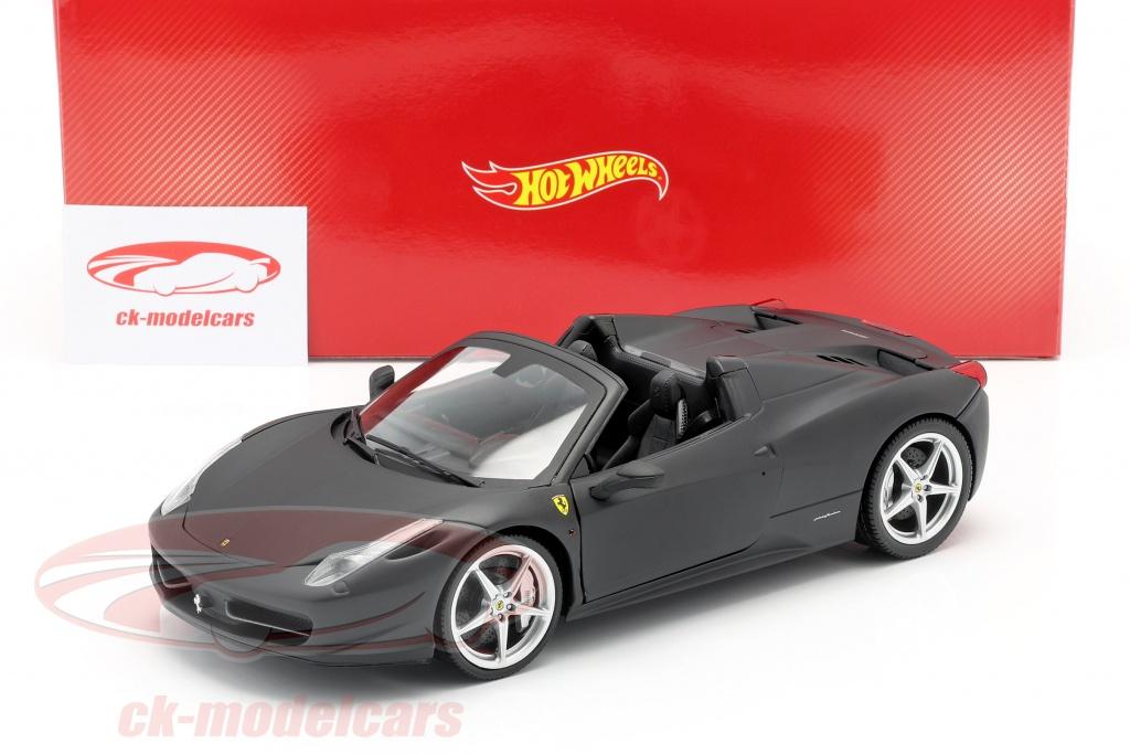 Hotwheels 1 18 Ferrari 458 Italia Spider Year 2011 Matt Black Heritage X5528 Model Car X5528 746775144852