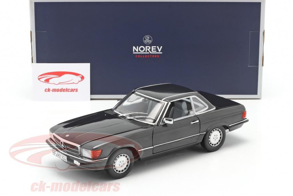 Norev 1 18 Mercedes Benz 300 Sl Convertible R107 1986 Blue Black Metallic 183726 Model Car 183726 3551091837268