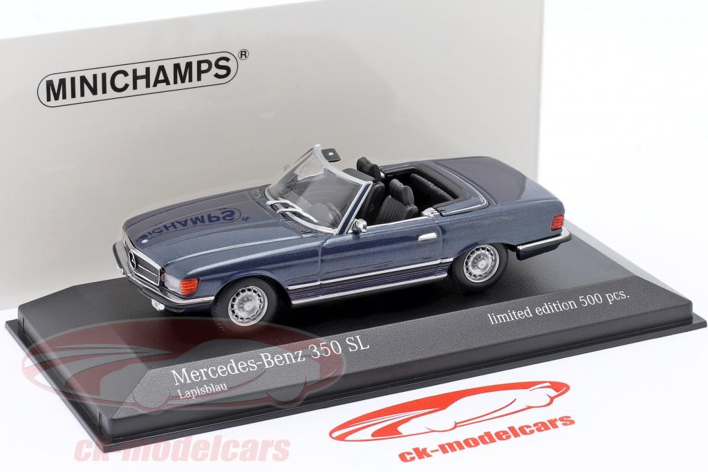 Mercedes-Benz 350 Sl R107 Année 1974 Bleu Métallique 1:43 Minichamps