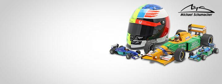 F1 legend M. Schumacher Formula 1 vehicles and mini helmets 